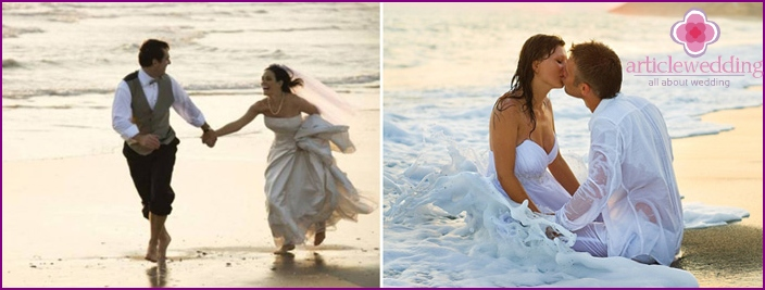 Wedding photo shoot by the water