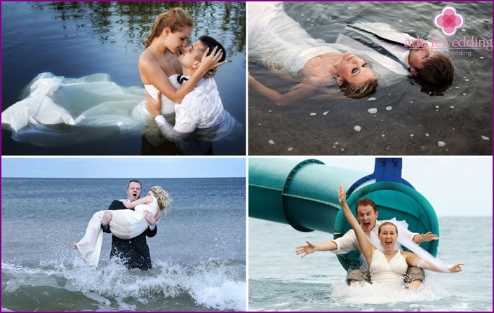 Wedding pictures of the newlyweds in the water