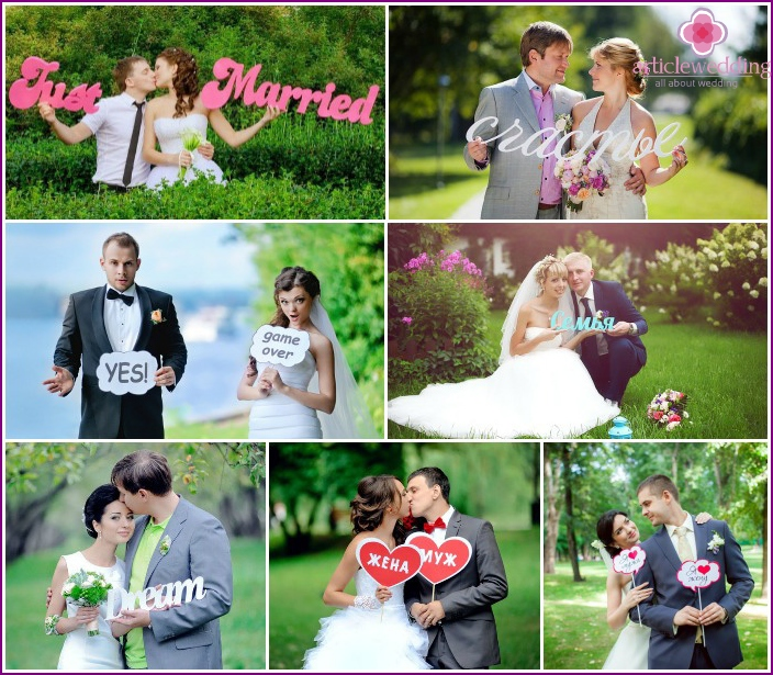 Wedding photos with inscriptions
