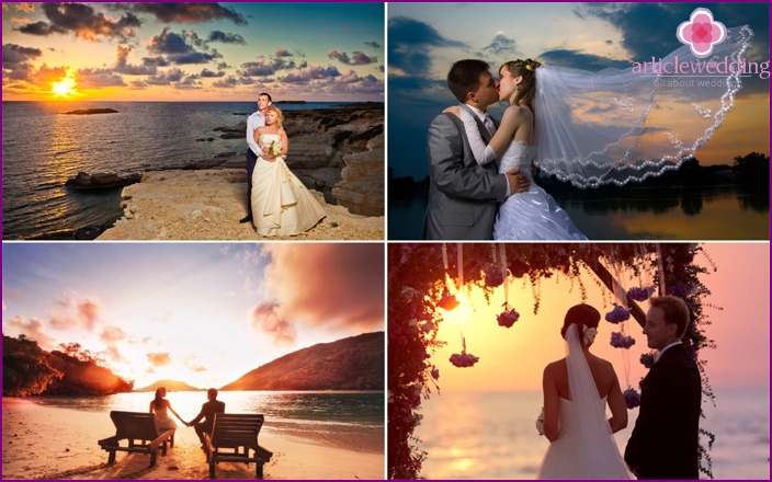 Sea photo session of the newlyweds during sunset