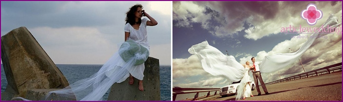 Pictures of newlyweds by the sea with flying fabric