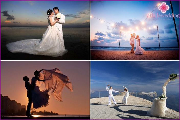 Photo of a wedding dance by the sea