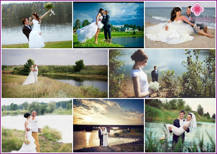 Wedding photos by the pond