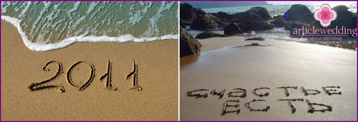 Drawings and inscriptions in the sand from the newlyweds