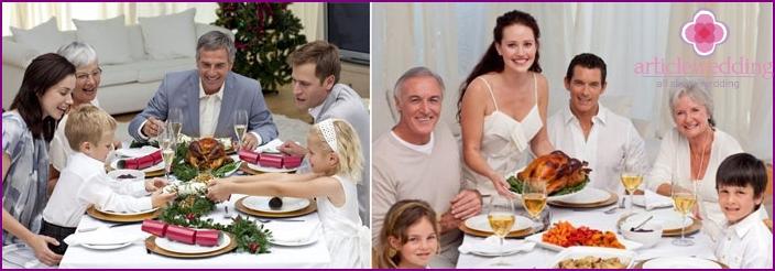 Perheillallinen tulevan aviomiehen sukulaisten kanssa
