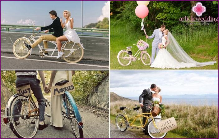 Fotoshooting von Jungvermählten auf Schlittschuhen, Schlittschuhen, Fahrrad