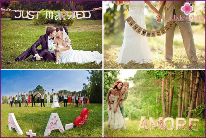 Briefe und Flaggen für ein Hochzeitsfoto-Shooting