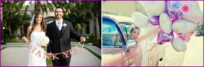 Beispiele für Hochzeitsfotos mit Requisiten