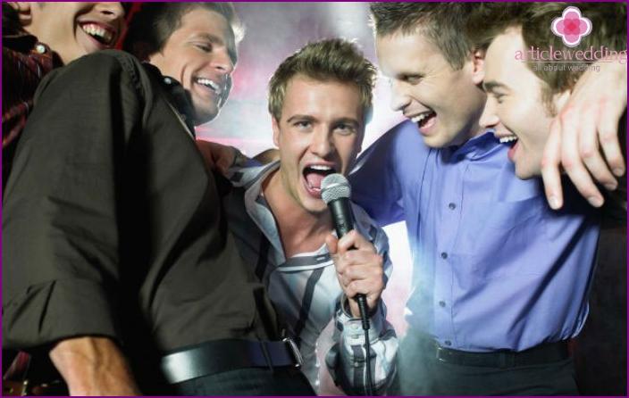 Bachelor party with karaoke