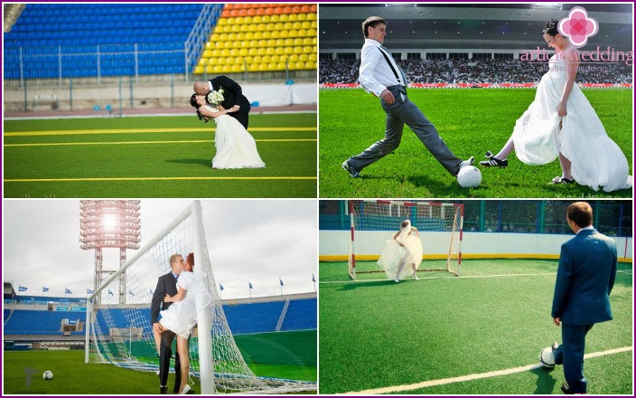 Shot of the groom with the bride on the football field
