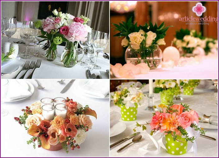 Table decoration with flowers for a wedding celebration