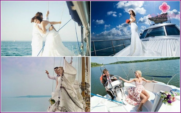 Photos of the bride and groom on a yacht