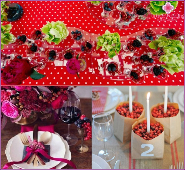 Berry decoration of a wedding party
