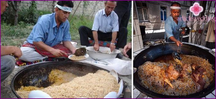 Uzbek pilaf at a wedding