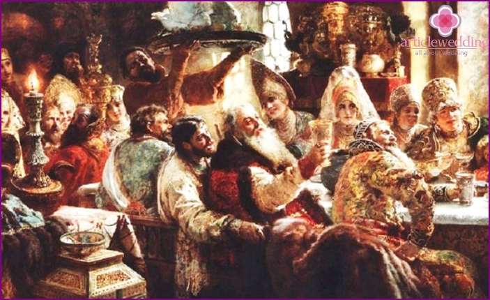 Russian feast about the successful bride