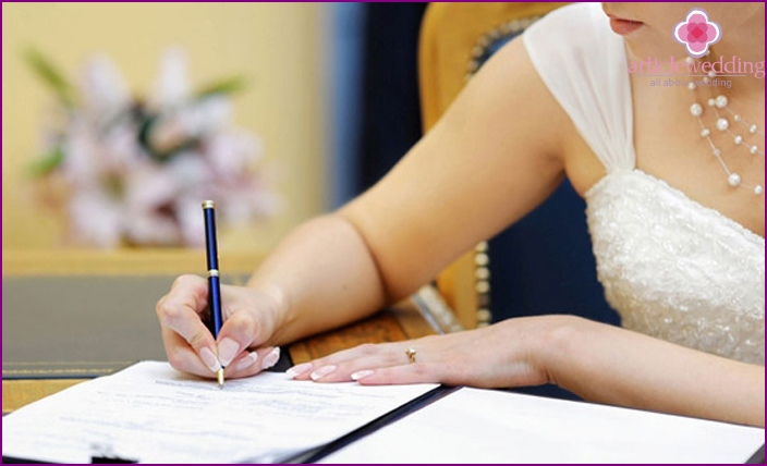 The procedure for filing documents for marriage