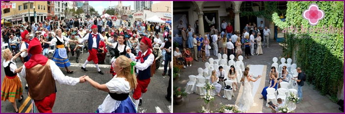 Herzlichen Glückwunsch und Tanz bei einer italienischen Hochzeit