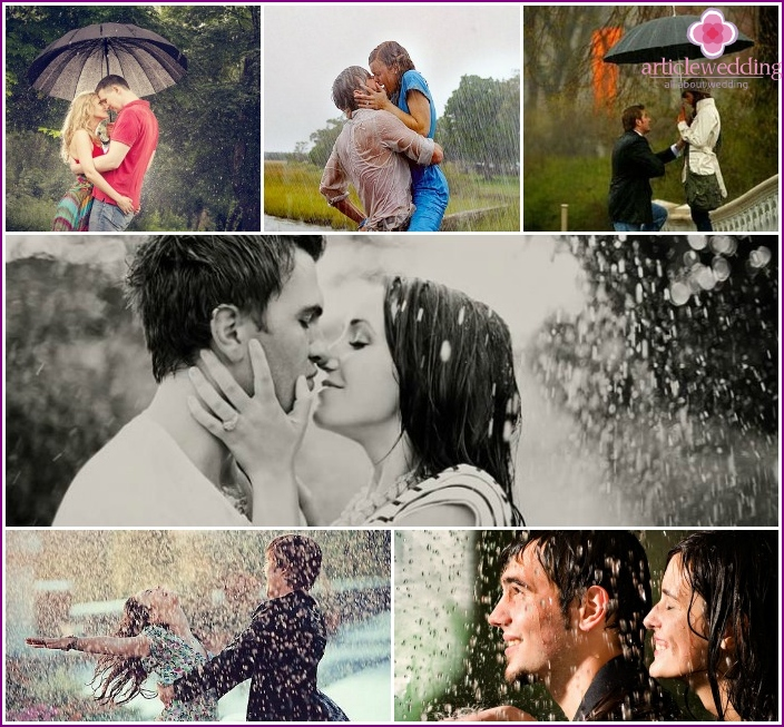 Photoshoot of lovers in the rain