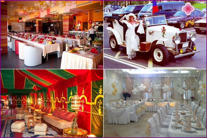 Decoration of a wedding celebration in the style of Italy