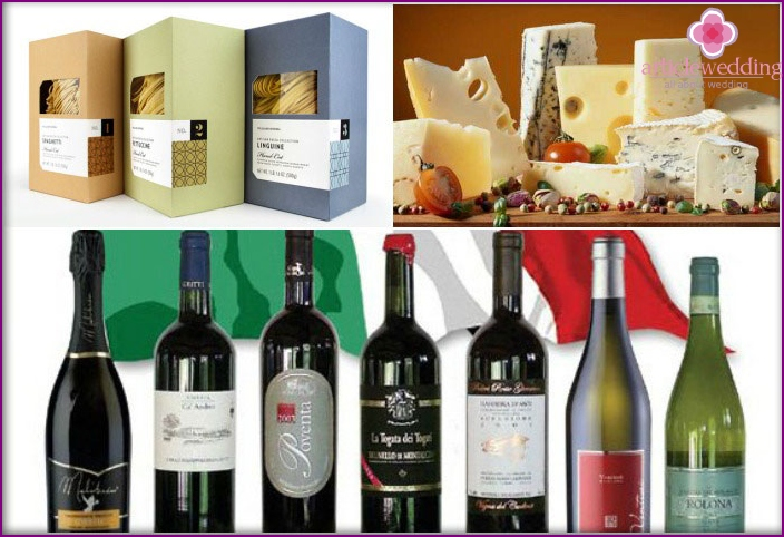 Prizes for wedding guests in the style of Italy