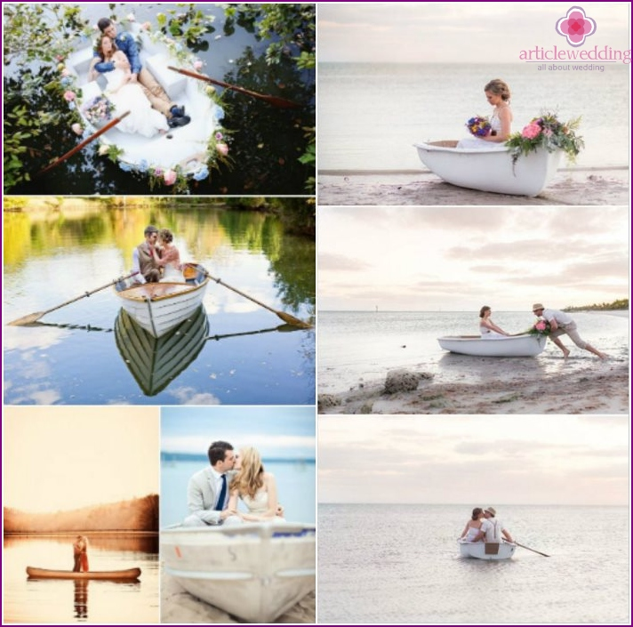 Wedding photos of the newlyweds in a wooden boat