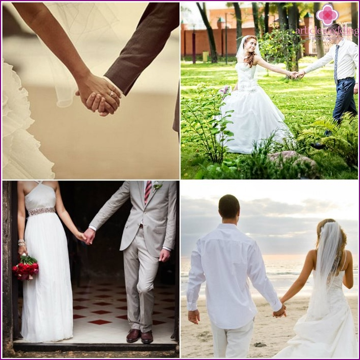 Pose for shooting: the bride and groom hold hands
