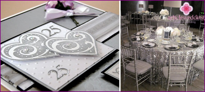Banquet hall decoration for the 25th wedding anniversary