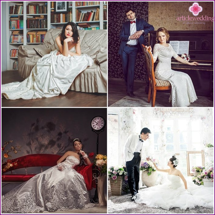 Photoshoot of the newlyweds in the studio