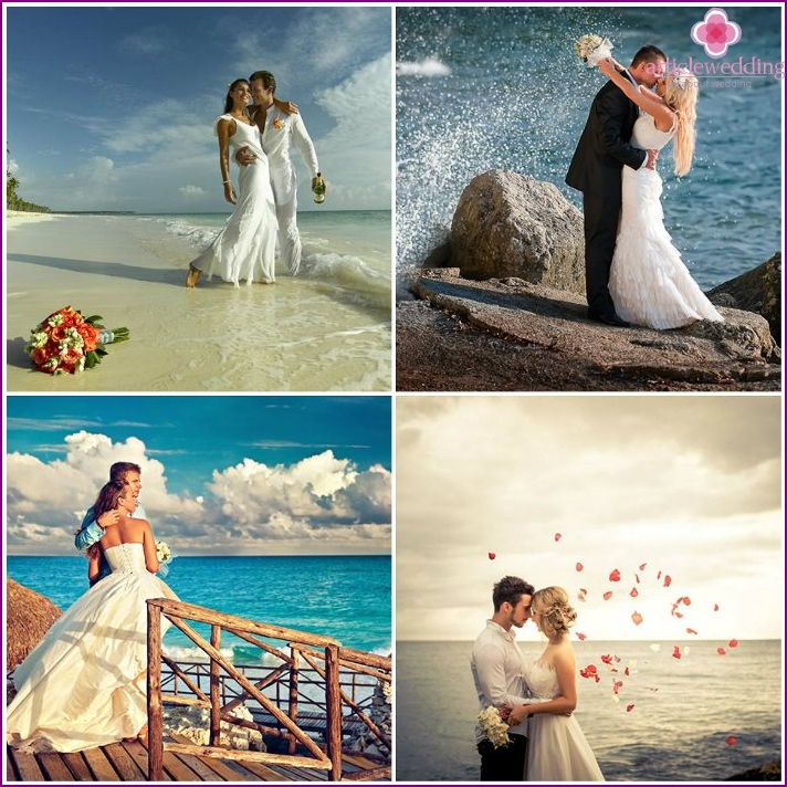 Photoshoot of the newlyweds by the sea