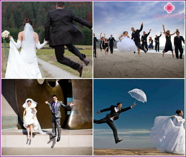 Pose for a photo shoot: newlyweds in a jump
