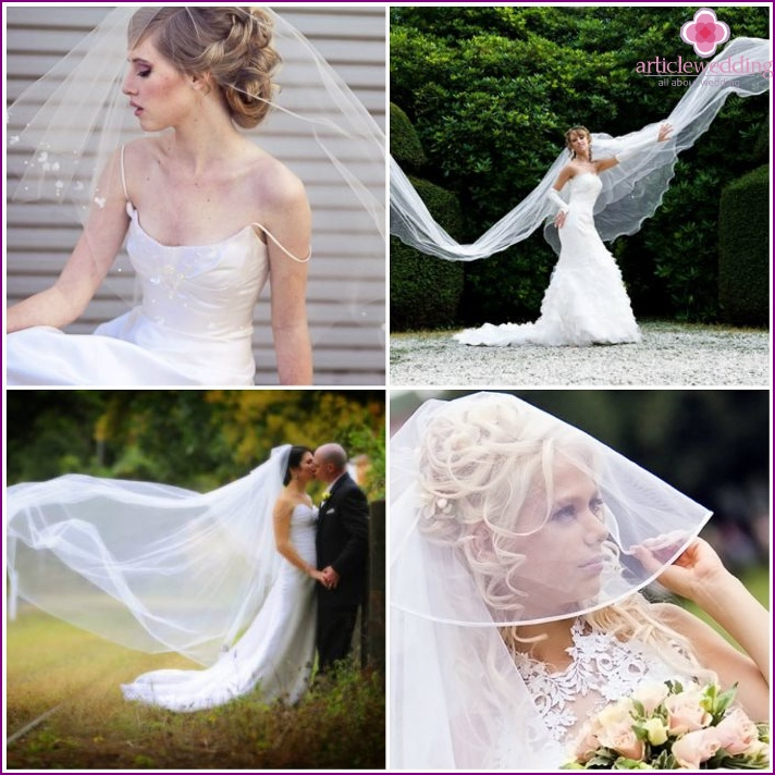 Poses for a photo shoot of a bride with a veil