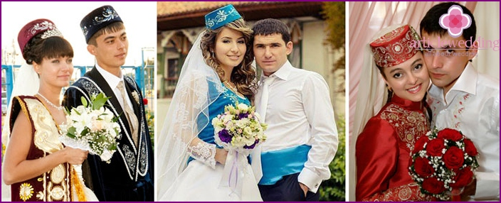 National clothes of the newlyweds at the Tatar wedding