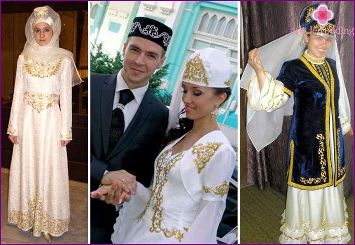 Newlyweds at the Tatar wedding