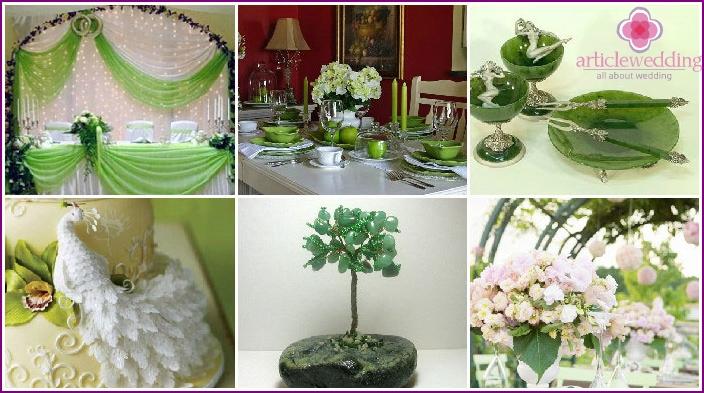 Hochzeitsdekor in Grüntönen