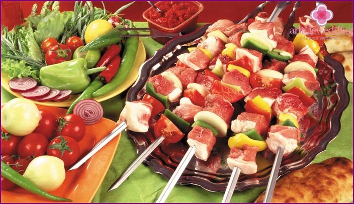Barbecue for an air wedding party