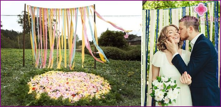 Ribbon background for wedding photo shoot.