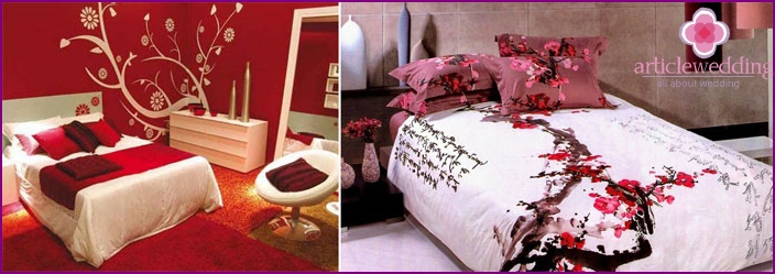 The wedding bed of the newlyweds according to Chinese traditions