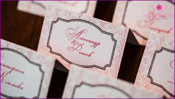 Guest seating card on a plate