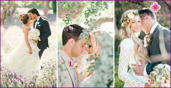 Spring wedding photography in a clearing