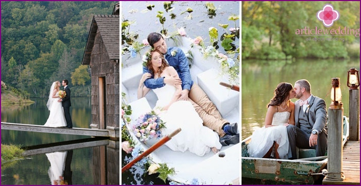 Wedding photo shoot in the spring near the pond