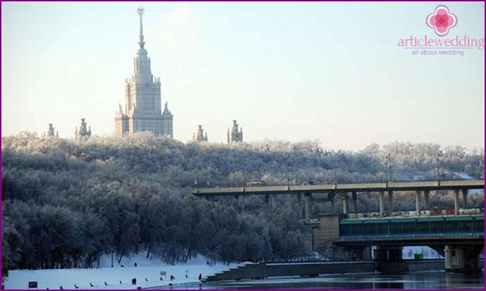 Die Flitterwochenroute umfasst den Vorobyovy Gory