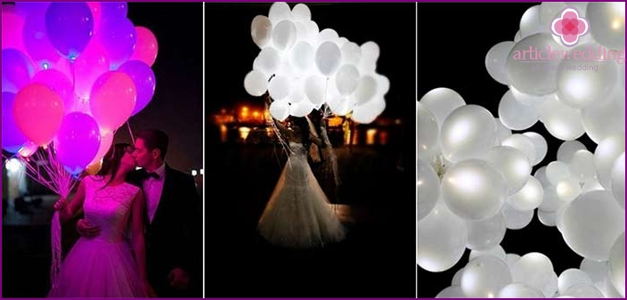 Luminous balloons for newlyweds photo shoot