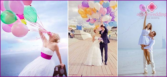 Wedding photoset with an armful of colorful balls