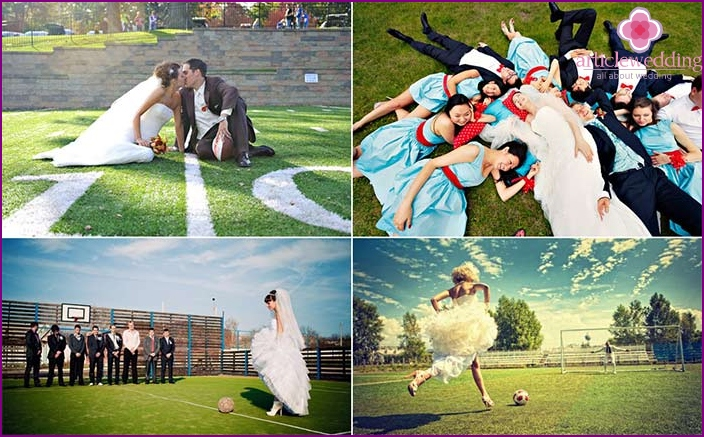 A soccer field is a great place for a wedding photo shoot