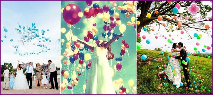 Wedding photo shoot: launching balloons in the sky