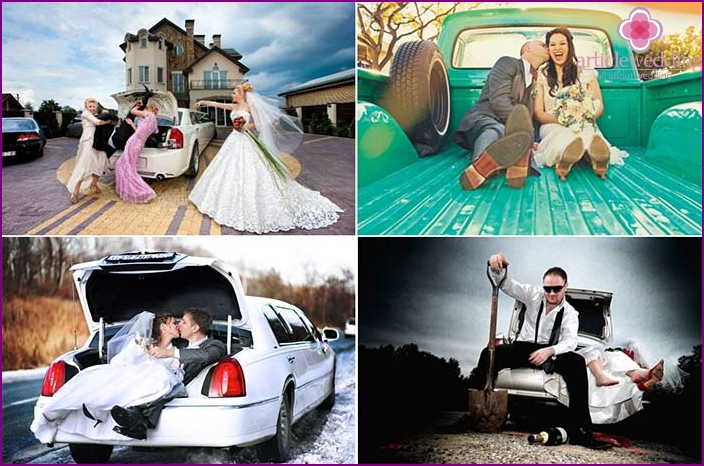 Cool wedding photos in the back or trunk