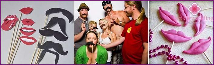 Wedding photo shoot with false mustache