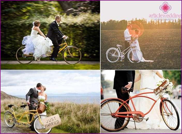 Bicycle walk - the plot for a wedding photo shoot