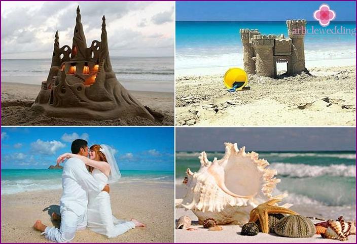 Wedding photo shoot near sand figures
