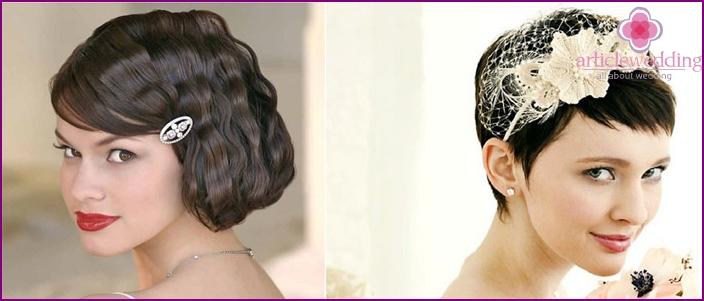 Short women haircut with mesh hoop